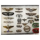 COLLECTION STERLING PINS SOME MILITARY