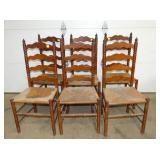6 MATCHING LADDER BACK CHAIRS