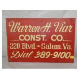 WARREN H. VIAR CONST. CO SALEM VA SIGN