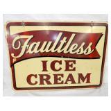 28X20 FAULTLESS ICE CREAM SIGN