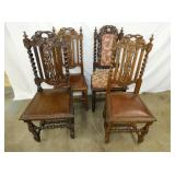 SET. 4 OAK EARLY CARVED CHAIRS