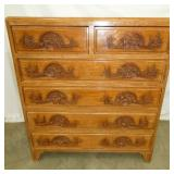 ASIAN OAK CARVED 2 OVER 4 CHEST