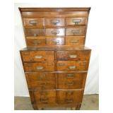 VIEW 2 FRONT OAK STACKER 17 DRAWER FILE