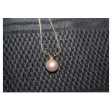 Pearl Necklace with Sterling Chain