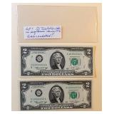 Lot 7, Two Green Seal Two Dollar Bills
