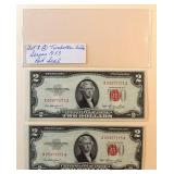 Lot 8, Two Red Seal Two Dollar Bills