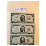 Lot 9, Three Red Seal Two Dollar Bills