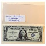 Lot 10, 1957 Silver Certificate
