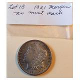 Lot 15, 1921 Morgan Silver Dollar