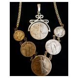 Sterling Jewelry set with American Coins
