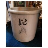 12 Gallon Birch Leaf Antique Crock