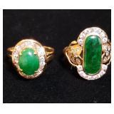 18k Cabochon Emerald and Diamond Rings