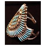 Native American Zuni Needlepoint Cuff Bracelet in Sterling  & Turquoise