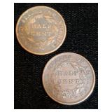 1826 and 1835 Half Cent Coins