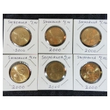 6 2000 Sacagewea $1 Coins