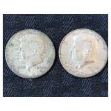 2 Kennedy Silver Half Dollars