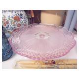 Gorham Pink Glass Cake Plate