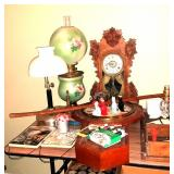 Gone with the Wind Lamp, antique clock, lamp, pie birds