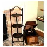 Antique English fold able muffin pie stand, antique phonograph