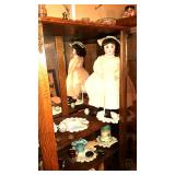 Antique doll, doilies, cut to clear cups, collectibles