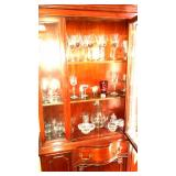 China cabinet, Wedgwood crystal stems, glassware