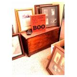 Photos and frames, antique chest