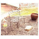 Garden bench, pot