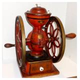 "ENTERPRISE MANUFACTURING CO., CIRCA 1898, COUNTER SIZE COFFEE GRINDER, 12"" DIAMETER WHEELS"