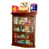 ANTIQUE STORE DISPLAY CABINET FILLED WITH ADVERTISING