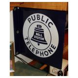 BELL SYSTEM PUBLIC TELEPHONE PORCELAIN DOUBLE SIDE ADVERTISING SIGN