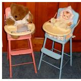 VINTAGE TOY DOLL HIGH CHAIRS