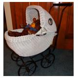 VINTAGE WICKER PORT HOLE DOLL BUGGY