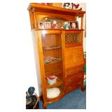 BEAUTIFUL OAK SECRETARY BOOKCASE with KEY