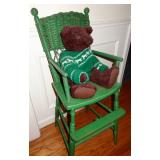 VINTAGE GREEN PAINT WICKER HIGH CHAIR