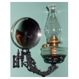 ANTIQUE WALL MOUNT SWING ARM OIL LAMP MERCURY GLASS REFLECTOR