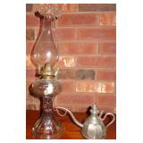 RARE OIL LAMP w/ FILL PORT AND OIL POT