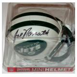 NY JETS JOE NAMATH AUTOGRAPHED MINI FOOTBALL HELMET