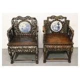 Pair Chinese mid. 19th century rosewood armchairs