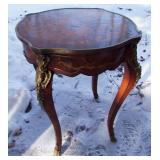 1900 Great French Lamp Table with Inlaid Top & Gilt Bronze Mounts