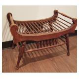 1890  Oak Spindled Hallway Bench