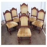 1920s Heavy Oak High Back Dining Chair Set with 2 Armchairs and Twisted Oak Side Supports