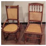 1890 Walnut Caned Side Chair and Rocker