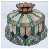 1900 bent and leaded stained glass hanging lamp