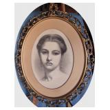 C/1880 Oval litho of young Lady in gilt frame