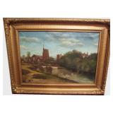 1900 Church and stream oil on canvas signed W.A. Yung