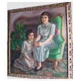 "Dated 1950 Lg. Oil on canvas, portrait of 2 young girls (relatives of the Ford family ?), 38""w. x 42"
