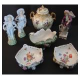 Good Lot of Victorian Porcelain Items incl Mantle Figures