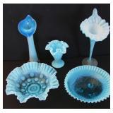 1900 Blue Opalescent Glassware incl Fenton
