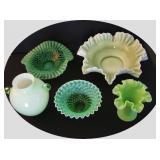 1900 Green Opalescent Glassware incl Fenton