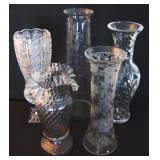 Nice Group of Tall Cut Crystal vases